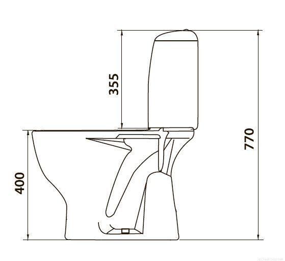 Унитаз с вертикальным выпуском в пол схема